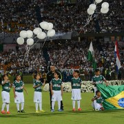 Fans of Atletico Nacional Pay Tribute To Brazilian Soccer Team Chapecoense Following Airplane Crash