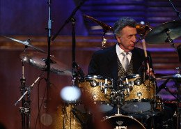 CLEVELAND - APRIL 04: DJ Fontana performs onstage during the 24th Annual Rock and Roll Hall of Fame Induction Ceremony at Public Hall on April 4, 2009 in Cleveland, Ohio.  (Photo by Michael Loccisano/Getty Images)